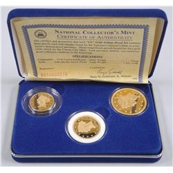 National Mint - Gold Tribune Proof Set - 3 Coin Set 24kt Gold Clad Bronze Tribute to 1st Carson City