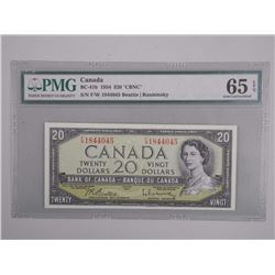 Bank of Canada 1954 Twenty Dollar Note. 'CBNC' PMG, Choice UNC 65
