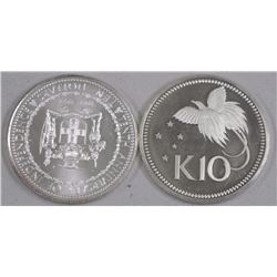 2x 925 Silver - Jamaica and New Guinea $10.00 (ATTN: 2 Times the bid price)
