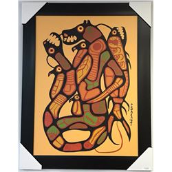 "Norval Morrisseau (1931-2007) Canvas 'Nature's Balance' 24x32"" Gallery Frame. Signed in Plate with C"