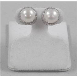Ladies 925 Silver Freshwater Pearl Earring (9mm) Cream Colour with 110 CZ Around = 1.10ct