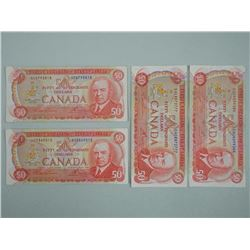 "4x Bank of Canada 1975 $50.00 ""RCMP Formation"" Banknotes (ATTN: 4 times the bid price)"