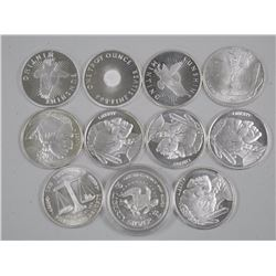 11x 999 Fine Silver Collector Bullion Rounds, Indian Heads etc (ATTN: 11 Times the bid price)