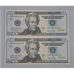 Uncut Sheet USA Series 2008 - Federal Reserve Twenty Dollar Notes (2)