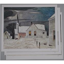 3x A.J. Casson (1898-1992) Ontario II Series Lithos - 'Village in the Winter' ($1250.00), 'Sunday Mo