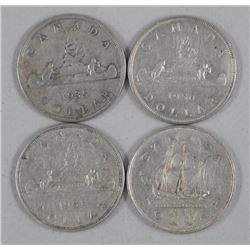 4x Canada Silver Dollar Coins: 1935, 1949, 1950, 1951 (ATTN: 4 Times the bid price)