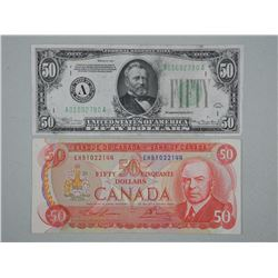 2x Fifty Dollars - 1934 USA and 1975 CAN RCMP (ATTN: 2 Times the bid price)