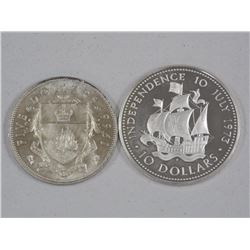 2x 925 Silver Coins - Bahamas $10.00 and $5.00 (ATTN: 2 Times the bid price)