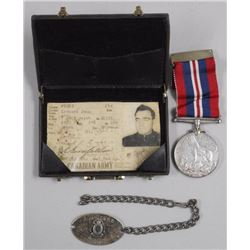 Original WAR Medal of John Leonard - Medal is Dated (1939-1945) with Bracelet ID TAG 'Very Rare'