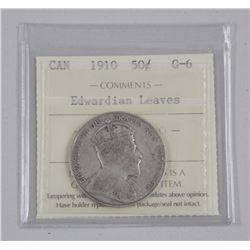 Canada Silver 50 cent 'Edwardian Leaves' G-6 'ICCS'