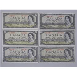 6x 1954 Bank of Canada Twenty Dollar Notes (3) Modified Portrait and (3) Devils Face (ATTN: 6 Times