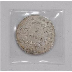 France 1814A 5 Francs Silver Coin VF