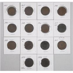 16x Canada Large 1 Cent. Mix Monarchs 1800s-1900s (ATTN: 16 Times the bid price)