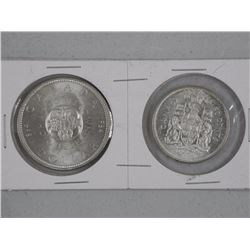 1964 Silver Dollar and 50 Cent Coin