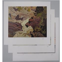 3x AJ.Casson (1898-1992) Lithos 10x13 Unframed. 'The Channel at Britt' 'Summer McGarry Flats' and 'R