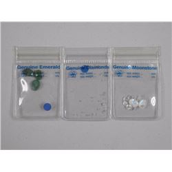 Lot (3) Genuine Gemstone Parcels, Loose - Moonstones, Genuine Emerald and Parcel of Loose Diamonds