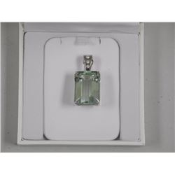 Ladies 18kt White Gold Fancy Pendant Rectangular Green Quartz (42.00ct) Bezel is Set with 3 Diamonds