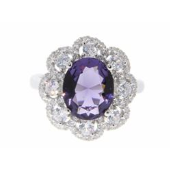 Ladies 925 Silver Custom Ring, with Oval Amethyst Swarovski Elements and Micro Pave Set CZ Around. S