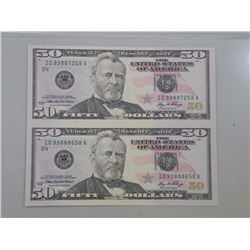 USA Federal Reserve Uncut Sheet of (2) Fifty Dollar Notes