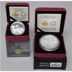 2x RCM - Anniversary of WW1 and WW2 Coins - $20.00 and $30.00 .9999 Fine Silver. LE with C.O.A. (MGE