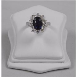 Ladies 18kt White Gold Fancy Custom Ring. oval Blue Sapphire (3.04ct) and 10 Diamonds = 1.60ct. (CES