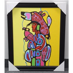 "Norval Morrisseau (1931-2007) Canvas 'Fisherman of Sirius' Plate Signed Cree Syllabics. 28x35"" Frame"