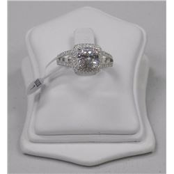 Ladies 925 Silver Ring with Cushion Cut 4.50ct and 100 Pave CZ = 5.50ct tw Size 7. SRRV: $630.00