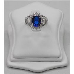 Ladies Custom Ring and Bracelet set, 5.00ct Oval Sapphire Blue Swarovski Elements and 16 Around = 6.