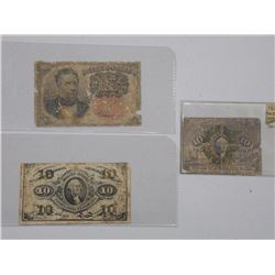 3x ESTATE USA (SER) Fractional Notes (1863-1864) (ATTN: 3 Times the bid price)