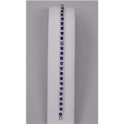 Ladies Custom Tennis Bracelet 69 - Sapphire Blue and Clear Swarovski Elements = 11.25cts. SRRV: $425