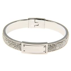 Ladies White Gold Plated Bangle Cuff with over 200 Swarovski Elements.