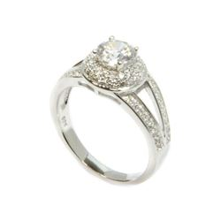 Ladies 925 Silver, 1.63ct Swarovski Elements Solitaire Ring with Micro Pave setting. Size 6. SRRV: $