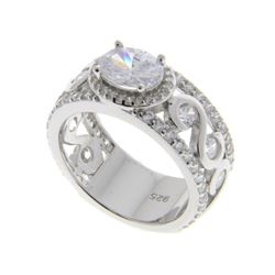 Ladies 925 Silver Ring with 2.22ct Solitaire Swarovski Element and 60 CZ Around. Size 8. SRRV: $580.