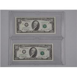 2x USA Federal Reserve Ten Dollar Notes, GEM UNC Mint Matched Serial Numbers - Ten Dollar Green Seal