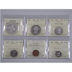 Complete 1956 Canada 6 Coin Set 'ICCS' Cert. All Coins PL-64 or Better (AXR)