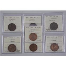 7x NFLD and Nova Scotia Large Cent Coins (1800s-1900s) G4 - VF20 'ICCS' Cert (ATTN: 7 Times the bid