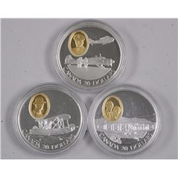 3x 925 Sterling Silver $20.00 Coins, with 24kt Gold Plated Cameo. In Capsules (ATTN: 3Times the bid