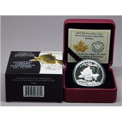 2015 - .9999 Fine Silver $20.00 Coin 'Walleye' (SRR) LE with C.O.A.