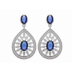 Ladies Fancy Drop earring .925 Silver Oval Sapphire Blue Center and Micro Pave Around.