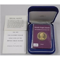 1978 British Virgin Islands $100.00 Gold Coin with C.O.A. and Case.