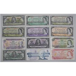 Lot Canada Banknotes - Face $169.00: 1937, 1964, 1967, 1969, 1974 with Devil's Face