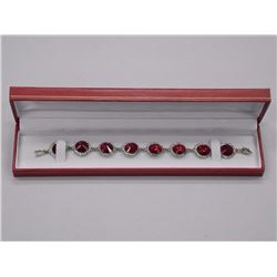 Ladies Custom 7 inch Bracelet with 192 Red and Clear Swarovski Elements = 50.50cts