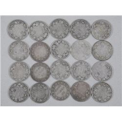 20x Canada Silver 25 cent Coins - Mixed Monarchs. Mixed Dates (ATTN: 20 Times the bid price)