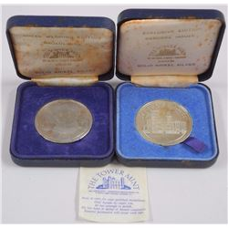 2x Estate - Medals Solid Nickel Silver Royal wedding - Osbourne House Tower Mint (ATTN: 2 Times the
