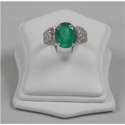 Ladies 18kt White Gold Custom Ring Oval Emerald 4.30cts and 24 Diamonds .30ct. Custom Made. Appraise