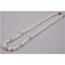 """Single Strand Pearl Necklace 16"""" knotted - 7.5-9mm and 300 Bezel Set CZ - 9ct tw. SRRV: $330.00"""