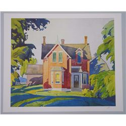 A.J. Casson (1898-1992) Litho 'Old House on Bayview' 20x24 unframed hand Signature, Rare. Artist Pro