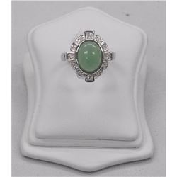 Ladies 925 Sterling Silver, Oval Jade Cabochon Ring (4.20ct) with 28 Swarovski Elements. SRRV: $275.