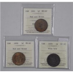 3x Canada Large 1 Cent Coins: 1859 VF20, 1899 MS63 and 1901 MS62. 'ICCS' (OER) (ATTN: 3 Times the bi