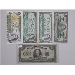 Lot (5) CANADA One Dollar Notes. 1923, 1937, 1954, 1967, 1973